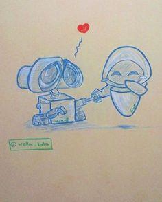Wall-E & Eve #disney #sketch #drawing #happy #look #like #heart #love #artsoninstagram #arts_help #arts_secret #art_spotlight #art_collective #소녀 #예쁜 #하국 #미완성 #미술 #kyeopta #blvart #toned #arts_gallery #walle #eve #saranghae