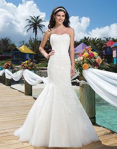 Style 3776: Beaded Lace, Tulle, Organza sweetheart mermaid wedding dress | Sincerity Bridal