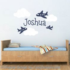 Boy Name Wall Decal - Airplane Decals - Nursery Clouds - Personalized Name - Nursery Vinyl Decals - Childrens - 24x36 via Etsy