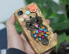 Antique Brass Cute Owl Hard Case Cover for iPhone 4 by moonboat, $12.99