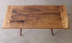 Mid-Century inspired reclaimed w Walnut coffee table.