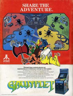 "Promotional poster for the classic four-player hack and slash arcade game ""Gauntlet,"" released by Atari in 1985."