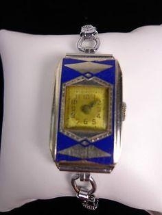 VINTAGE ART DECO ELGIN LADIES WRIST WATCH 14K GOLD FILLED BLUE ENAMEL