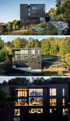 The home on a steep slope has a landscaped yard with a winding path leading to a small outdoor area.Portland house