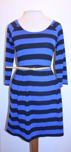 "Mossimo Dress M Blue Black Belted Waist Big Stripe 3/4"" Sleeve Blouson Dress #Mossimo #Blouson #CasualDateNight"