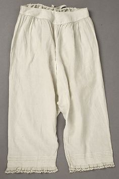 Drawers with eyelet lace trim, American or European, 1860s.