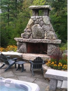 Awesome 20+ Fabulous Rustic Outdoor Fireplace Designs https://gardenmagz.com/30-fabulous-rustic-outdoor-fireplace-designs/ #outdoorfireplacesawesome