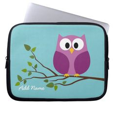 Cute Owl Drawing on a Tree Branch Laptop Computer Sleeves