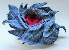 Denim and red felted wool fabric flower brooch pin by WoolenBlooms