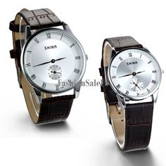 Roman Numerals Quartz Couples Dual Dial Leather Brown Band Watches