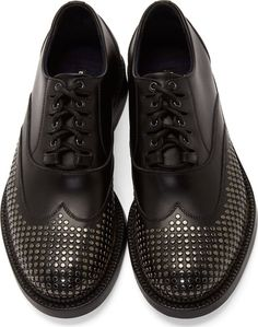 f7d5c35ff Dsquared2 Black Studded Shortwing Oxfords Mens Shoes Boots