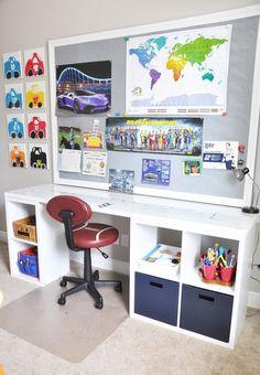 DIY Desk Using a Hollow Core Door and Some Cube Storage - Desks - Ideas of Desks Diy Storage Desk, Cube Storage Unit, Cube Shelves, Desk Shelves, Cube Unit, Kids Desk With Storage, Target Storage Cubes, Desk Organization, Storage Ideas