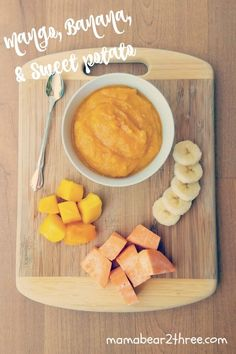 Baby Yummies! Try this easy and fast recipe for making your own baby food. My son loves the mango, bananas, and sweet potatoes!