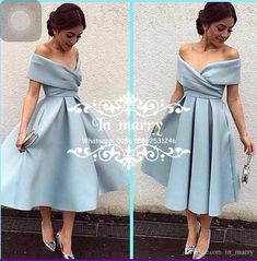 Cheap Simple Tea Length Cocktail Homecoming Dresses 2017 A Line Off Shoulder Plus Size Ice Blue Women Arabic Formal Evening Prom Party Gowns Cheap Cocktail Dresses Short Party Gowns 2017 Cocktail Dresses Online with $125.72/Piece on In_marry's Store | DHgate.com