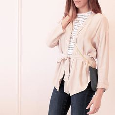 Belted blazer & henni stripe tee #lookbook