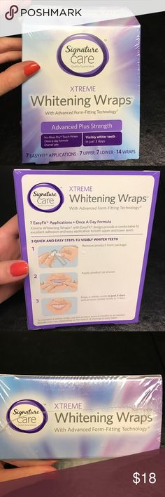 BRAND NEW Teeth Whitening Kit BRAND NEW. Sealed package. Xtreme Whitening Wraps with Advanced Form-Fitting Technology, Advanced Plus Strength. 7 Easy Fit Applications; once a day formula Makeup