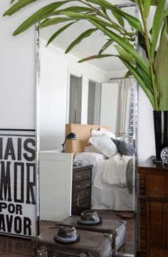 """This mirrored bedroom is from our feature """"Pablo's Place"""""""