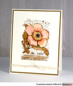 Card by Heather Telford using Darkroom Door Botanical Script Stamps and Distress Inks.