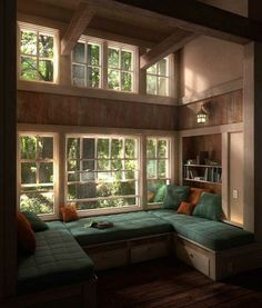 Several of my favorite things: clerestory windows, window seats, exposed beams, and built-in book-cases!