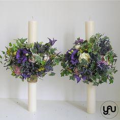 Lumanari cununie scurte lavanda clematis trandafiri de gradina - LC27 Clematis, Flower Power, Candle Holders, Floral Wreath, Wreaths, Candles, Design, Home Decor, Floral Crown