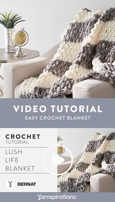 Watch the easy crochet tutorial to learn how to make a Lush Life Blanket! Use Bernat Blanket yarn, luxurious, soft and cozy yarn, to create your own blanket. crochet blanket Crochet a Blanket: Lush Life Blanket Crochet Blanket Tutorial, Easy Crochet Blanket, Afghan Crochet Patterns, Crochet Yarn, Bernat Blanket Patterns, Free Crochet, Crotchet, Chunky Yarn Blanket, Chunky Crochet Blankets