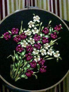 Wonderful Ribbon Embroidery Flowers by Hand Ideas. Enchanting Ribbon Embroidery Flowers by Hand Ideas. Ribbon Embroidery Tutorial, Embroidery Flowers Pattern, Hand Embroidery Stitches, Silk Ribbon Embroidery, Hand Embroidery Designs, Embroidery Kits, Machine Embroidery, Embroidery Books, Embroidery Tattoo