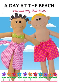 A Day at the Beach - PDF Doll Pattern by TheRedBootQuiltCo on Etsy