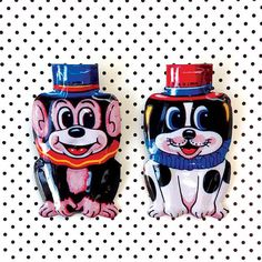 2 Vintage Tin Toy Clickers  Cute Puppy  Playful by CrankyCakesShop