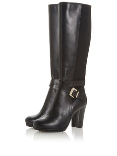 Dune London Dune London Sebby Stretch Panel Knee High Boot in Black Leather Leather Heels, Black Leather, Boots London, Baby Phat, High Leg Boots, Long Toes, Dune, Fashion Boots, Rubber Rain Boots