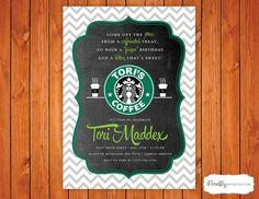 Starbucks Coffee Birthday Party Invitation by FireflyInvitations