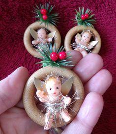 Vintage Christmas Tree Fairy Angel Decoration Tiny Black Ethnic