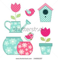 Cute retro spring and garden elements as fabric patch applique - stock vector Applique Templates, Applique Patterns, Applique Designs, Doll Patterns, Sewing Machine Embroidery, Machine Applique, Embroidery Applique, Fabric Patch, Fabric Art