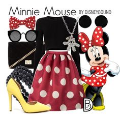 Minnie Mouse by leslieakay on Polyvore featuring Cushnie Et Ochs, Forever 21, Disney, Apt. 9, AeraVida, Quay, disney, disneybound and disneycharacter