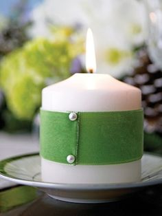 Wrap Candles With ribbon/ fabric and secure with pearl pins