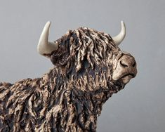 Standing Highland Cow | Lloyd-Coombes Ceramics Pottery Animals, Ceramic Animals, Clay Animals, Pottery Sculpture, Pottery Art, Sculpture Art, Ceramic Sculpture Figurative, Art Stand, Highland Cattle