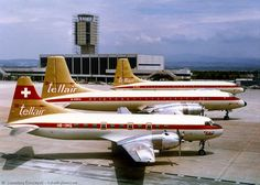 Tellair Convair Metropolitan, Two Bristol 175 Britannias in background Airplane Decor, Airplane Photography, Aircraft Pictures, Aeroplanes, Concorde, Jets, Bristol, Switzerland, Postcards