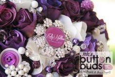 Purple, White Brooch Bouquet - Mixed Media Bouquet