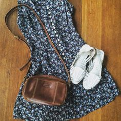 Summer dress, sandals, and leather bag by Lulabelle's Armario https://www.etsy.com/shop/LulaBellesArmario