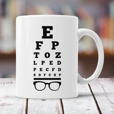Items similar to Eye Chart Print Mug - Funny Snellen Chart Optometrist Gift Ideas - Cute Eye Doctor Glasses Cup on Etsy Optometry Humor, Optometry Office, Glasses Quotes, Shopping Bag Design, Eyewear Shop, Cute Reptiles, Eye Chart, Optical Shop, Break Room