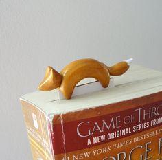 Bookmark fox handmade unique golden polymer clay by NellinShoppi, €15.00