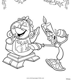 Cogsworth and Lumiere, Beauty and the Beast color page, disney coloring pages, color plate, coloring sheet,printable coloring picture