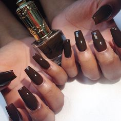 brown nails, floss gloss, brown nail polish, big nails