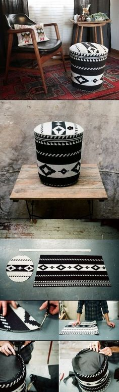 DIY UTILITY BUCKET OTTOMAN - original source  http://www.designsponge.com/2013/02/diy-utility-bucket-ottoman-by-revive.html
