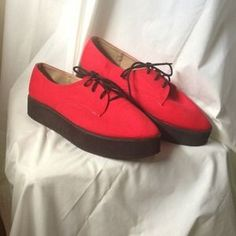 I just added this to my closet on Poshmark: Deena & Ozzy creeper platform flat red canvas 10. Price: $18 Size: 10