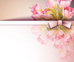 Spring pink flower card vector