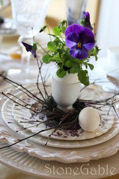 StoneGable: NEST INSPIRATION  pansies in egg shells nestled into egg cups