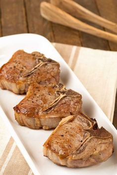 Simply seasoned with a bit of olive oil, salt and pepper, these bone-in, loin lamb chops are pan-seared and finished in a hot oven for tender and juicy results every time.