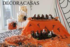 Festa de aniversário: tema Halloween - toda eita em casa, nas cores preto, branco e laranja. Confira todas as ideias de Flávia Ferrari clicando na imagem.