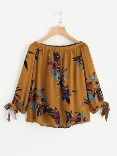 SheIn offers Boat Neckline Floral Print Tie Cuff Blouse & more to fit your fashionable needs. African Fashion Dresses, Teen Fashion Outfits, Girl Fashion, Girl Outfits, Casual Outfits, Casual Dresses, Summer Outfits, Kurta Designs, Blouse Designs