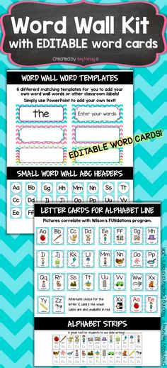 Word Wall Kit and Alphabet Cards in Teal Chevron with EDITABLE word cards!    Amy Murray - Teaching Exceptional Kinders